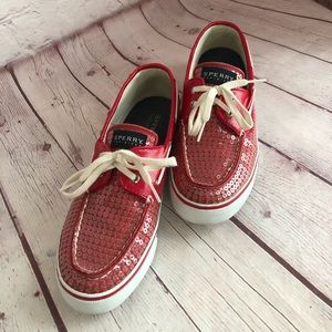 [Sperry] Red sequin boat shoes women's 9M